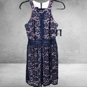 NWT Navy All Over Lace with Pink Lining